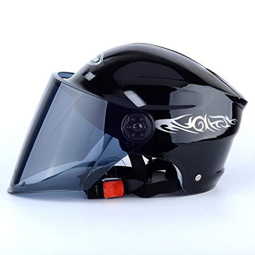 Preisvergleich Produktbild GZZ Reitausrüstung Motorradhelm Für Männer Elektrofahrzeughelm Frühling-,  Sommer- Und Herbsthelm Für Erwachsene Helm Für Erwachsene Erwachsener im Freien (Farbe : SCHWARZ)