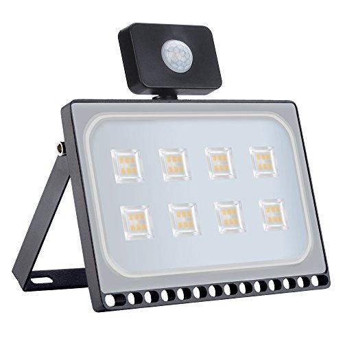 50W Bewegungs-Sensor-Licht, Yuanline LED im Freien Sicherheits-Licht, IP65, 5000LM 2800-3500K PIR-Flutlicht AC220-240V(Warmweiß, 50W) -