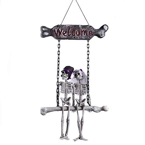 Zicue Humorvolle Maske Maskerade Prom Maske Halloween Skeleton Braut und Bräutigam Welcome House Pendant Decoration (Braut Und Bräutigam Halloween)