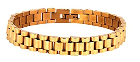 Die Jewelbox 316L chirurgischer Edelstahl 22K vergoldet Rückseite Herren Armband