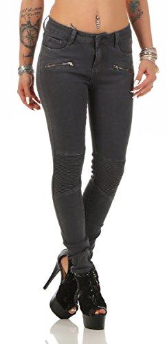 5755 Fashion4Young Damen Jeans Röhrenjeans Hose Stretch-Denim Skinny Röhre Damenjeans Slimline (L=40, grau)