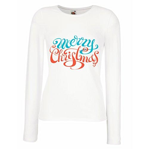 Maniche lunghe femminili T-shirt Camicia vacanza vecchio Buon Natale Bianco Multicolore