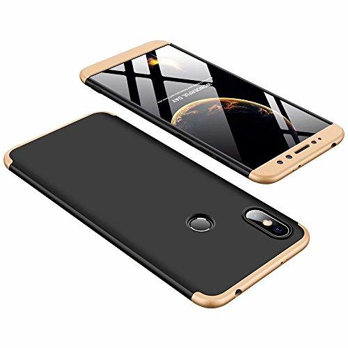DESCHE Funda Xiaomi Redmi S2 Golden Negro PC Duro 360 Grados Cuerpo Completo Cubierta Protectora Ultrafino Anti-rasguños Parachoque Mate Phone Case 3 in 1 Golden Negro