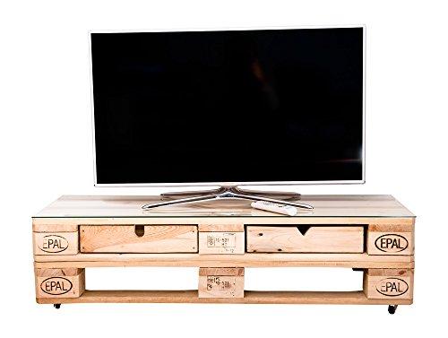 Fernsehtisch aus Paletten - rustikal -  mit Rollen -  Palettenmöbel - abgeschliffen - Rolltisch