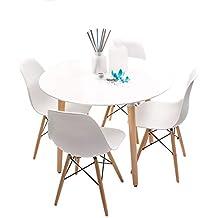 Conjunto de Comedor de diseño nórdico NORDIK-MAX con Mesa Redonda de 100 cm y