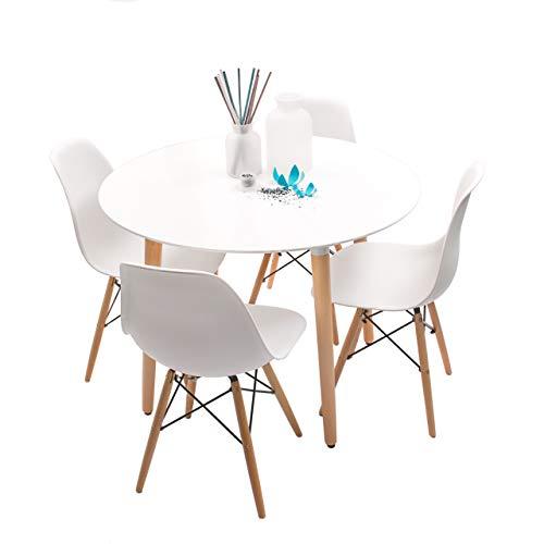 Conjunto de Comedor de diseño nórdico NORDIK-MAX con Mesa Redonda de 100 cm y 4 sillas (Blanco)