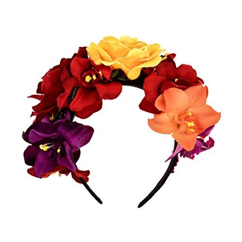 LUOEM Diadema corona flores Diadema flor rosas Disfraz