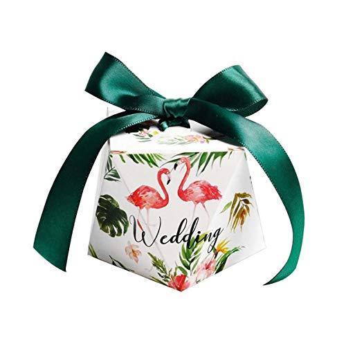 TOYANDONA Flamingo-Muster-Hochzeits-Süßigkeitskästen mit Bändern Partei bevorzugt Geschenkbox 50Pcs