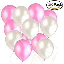 NUOLUX 100pcs pera látex rosa blanco globos para la decoración de la fiesta de cumpleaños de la boda
