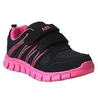 DEK Girls Boys Unisex Kids Super Lightweight Touch Fasten Strap Black Running Trainers UK Sizes 10-2
