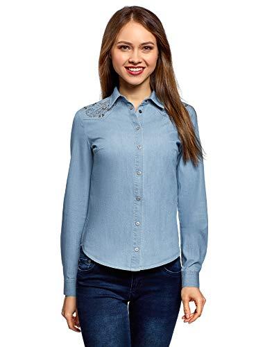 oodji Ultra Damen Jeans-Bluse mit Schulterverzierung, Blau, DE 38 / EU 40 / M -