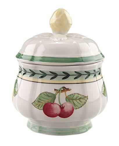Villeroy & Boch French Garden Fleurence Zuckerdose, Premium Porzellan, Weiß/Bunt