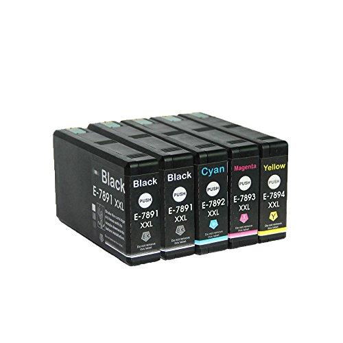 LCL(TM) T7891 T7892 T7893 T7894 (5-Pack 2Noir Cyan Magenta Jaune) Cartouche d'encre Compatible pour Epson WorkForce Pro WF-5110DW 5190DW 5620DWF 5690DWF