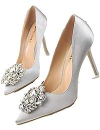 HhGold Elegantes Zapatos de tacón Alto Sandalias Novia de Boda Zapatos de  tacón de Aguja 10 cm Rhinestone de Cristal Princesa Oficina… ca4420761d6b