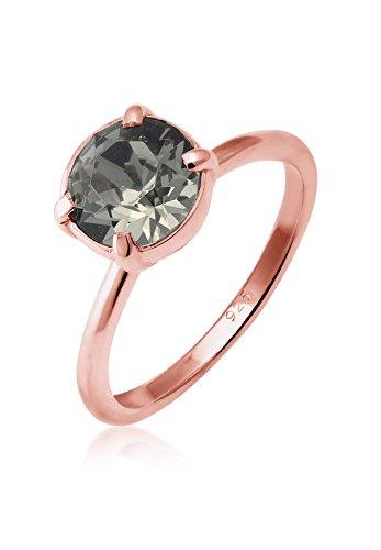 Elli Ring Damen Solitär Schwarz mit Swarovski Kristallen in 925 Sterling Silber Rosé Vergoldet