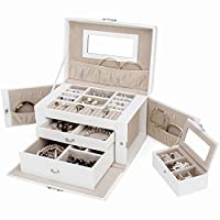 TRESKO® Jewellery Box Organiser with Mirror | Faux Leather Case with 3 drawers and Mirror