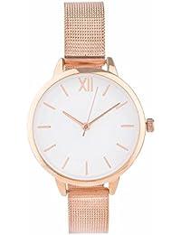 """SIX """"Geschenk"""" Damen Armband Uhr in rosé gold mit schmalem elegantem Metallarmband und weißem Ziffernblatt in schöner Geschenkbox (274-381)"""