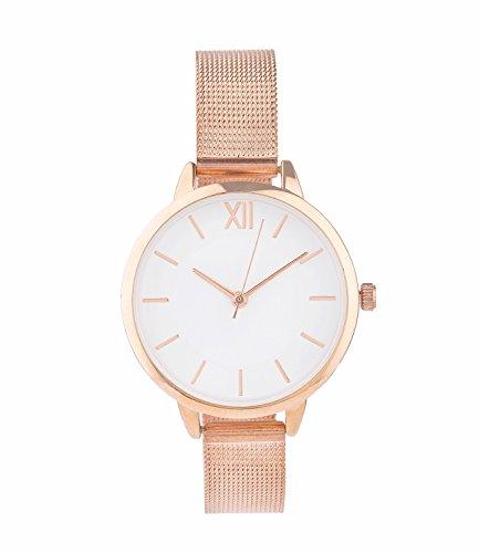 SIX Uhr, roségoldene Mesh-Armband Uhr, mit weißem Ziffernblatt, in Geschenkbox (274-381)