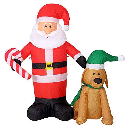 Bakaji gonfiabile santa clause babbo natale con cane luci a led altezza 120cm sistema autogonfiabile kit fissaggio per esterno protezione ip44 addobbo e decorazione natalizia