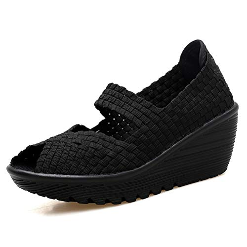 Frauen Breathable Handgemachte BeiläUfige Schuhe Sommer Slip On Mesh Wedges Komfortable Lightweight Wovening Woven Schuhe