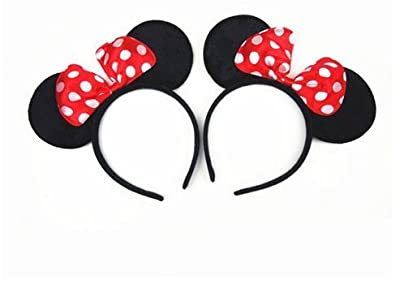 Norbis Minnie Mouse Ears Headband Children Birthday Party Supplies Girls Mom Baby Hair Accessories Party Decoration Gift Baby Shower Valentine's Day Halloween Christmas Set of 2