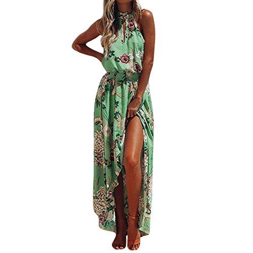 Kostüm Fashion Nova - Xmiral Damen Kleid Boho Floral Lang Maxi Ärmellos Abend Party Strand Sommerkleid Unregelmäßiger Saum Elegant Kostüm(M,Grün)