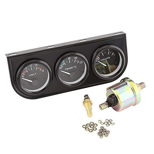 Cikuso 52Mm 3 Fach Messgeraet 3 In 1 (Voltmeter + Wasser Temperatur Anzeige + oel Presse Messgeraet) Sensor 52Mm Auto Messgeraet Auto Meter