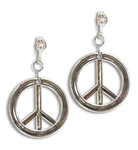 Hippie-Ohrringe, Peace-Zeichen in silber mit Clip