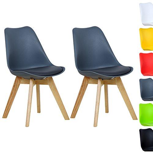 WOLTU BH29gr-2 2 x Esszimmerstühle 2er Set Esszimmerstuhl Design Stuhl Küchenstuhl Holz, Neu Design,Grau