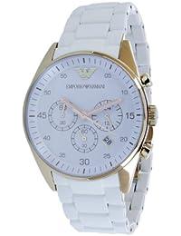 Emporio Armani AR5919 - Reloj cronógrafo de cuarzo para hombre, correa de acero inoxidable color blanco