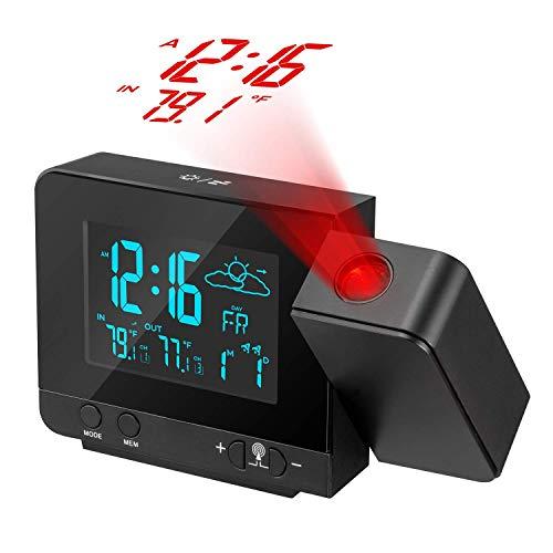 Proyector de reloj digital con higrómetro de termómetro interior / exterior, estación meteorológica...