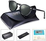 Carfia Retro Runde Sonnenbrille Outdoor Polarisierte Sonnenbrille für Damen Herren, 100% UV 400 Schutz (Rahmen: Schwarz; Linsen: Grau) (Herren, Rahmen: Schwarz; Linsen: Grün)