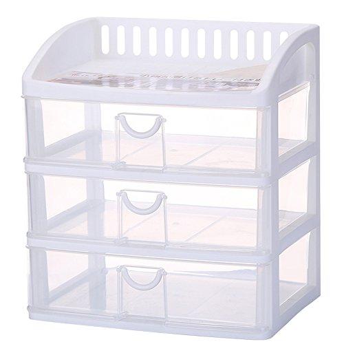 tre cassetti contenitore/Scatola di finitura cosmetica/Desktop ingombro di stoccaggio di plastica