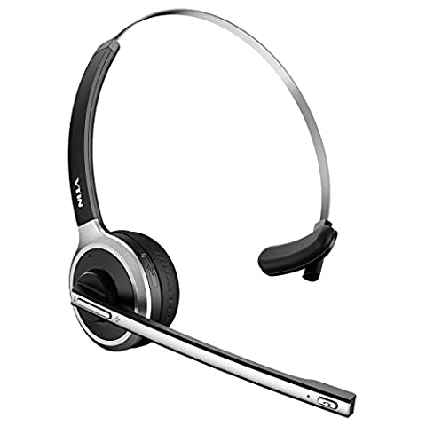 Micro Casque Bluetooth Sans Fil VTIN Casque d'Écoute Professionnel Léger Mains-libres avec Microphone Intégré pour Conducteurs, Téléphoniste, etc