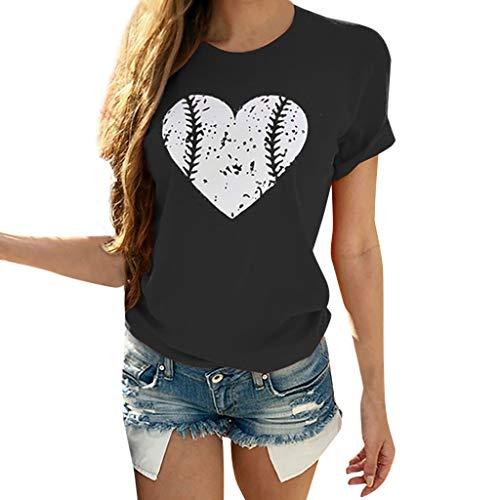 CAOQAO Damen SchöNer Herzdruck Lose Mode BeiläUfig Druck Rund Hals Kurz ÄRmel Bluse Hemd Atmungsaktives Laufshirt(L,Schwarz)