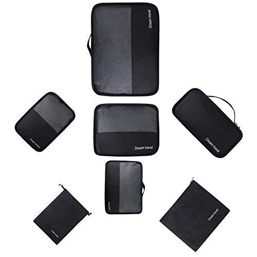 Set 7 Kleidertaschen Gepäck Organizer Packtaschen - Kation Oxford Tuch Koffer Organizer Reisetasche Packwürfel(schwarz) MEHRWEG