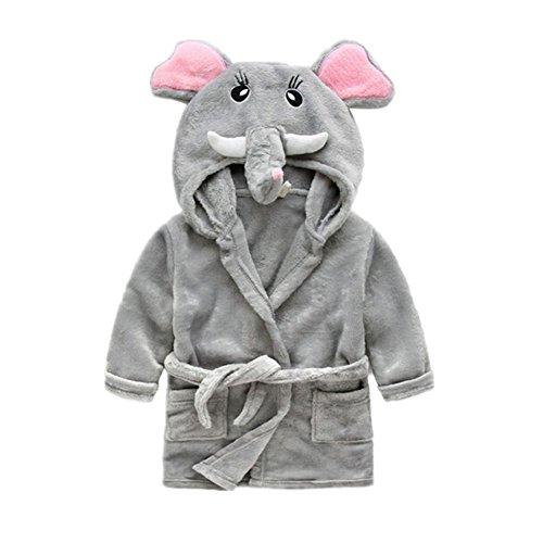 Albornoz Infantil Bata de Bano Franela Pijama con Capucha Toalla Disfraz Animal Elefante
