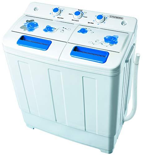2in1 Mini Waschmaschine mit Schleuder | Waschautomat bis 6 KG | Schleuderkammer 3 KG | Toploader | Miniwaschmaschine | Reisewaschmaschine | Camping Mobile Waschmaschine | (2 XXL Kammern)