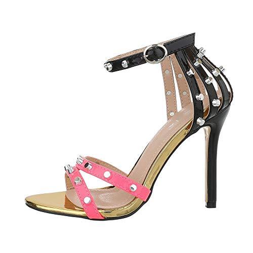 Ital-Design Damenschuhe Sandalen & Sandaletten High Heel Sandaletten Synthetik Pink Schwarz Gr. 38 Stiletto Heel Slingback