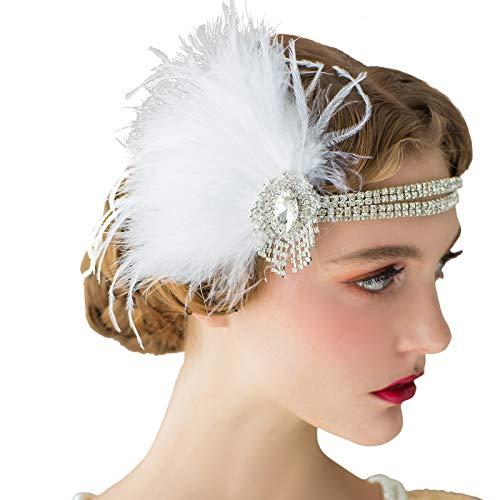 SWEETV Flapper Zubehör der 1920er Jahre Stirnband Great Gatsby Headpiece Feder Stirnband Damen Hochzeit Haar Accessoires für die Braut Elfenbein