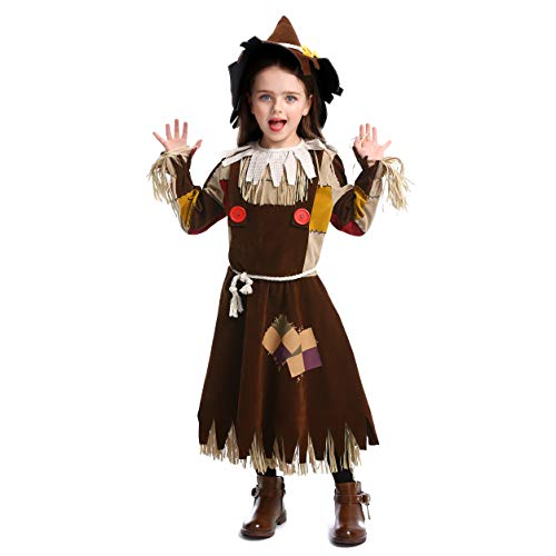 Kind Kostüm Dorothy Deluxe - LOLANTA Deluxe Mädchen Halloween Zauberer von Oz Kostüm Scarecrow Dress up Kostüm befestigen Hut