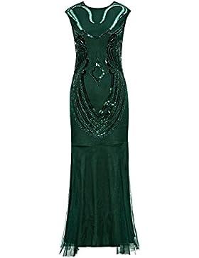 Metme Donne Abito da sera vintage anni '20 senza maniche in rilievo con grande motivo gatsby per prom