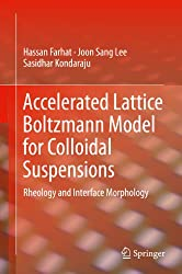 Accelerated Lattice Boltzmann Model for Colloidal Suspensions: Rheology and Interface Morphology