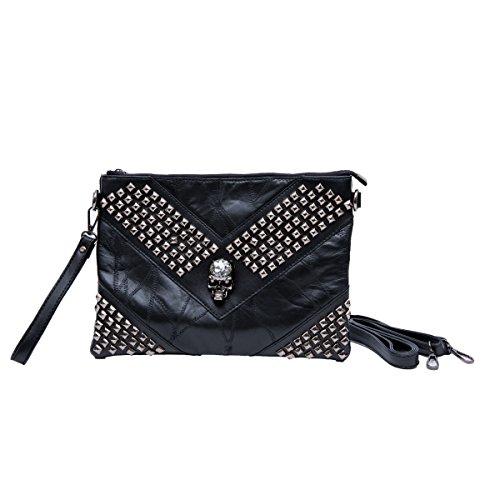 Zarapack da donna, in vera pelle, chiusura, 2 cinghie e manico a forma di borsetta, borsa a tracolla, il braccialetto, Rhinestone Skull L (Nero) - BA936 Rhinestone Skull L