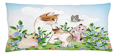 Cat Throw Pillow Cushion Cover, Cute Kittens in Flower Meadow Field Happy Cats Family with Butterfly Kids Cartoon Print, Decorative Square Accent Pillow Case, 18 X 18 inches, Multi Butterfly Meadow Bunny