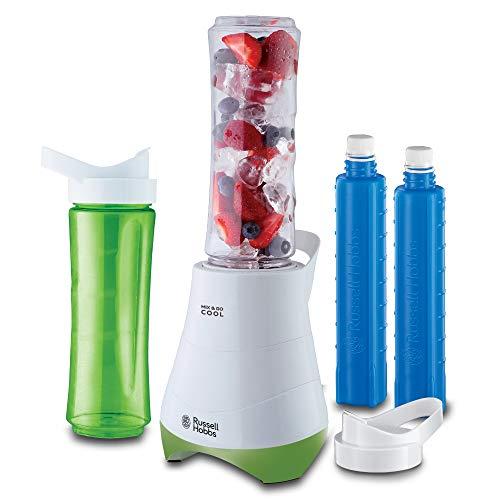 Russell Hobbs Standmixer Mix&Go Cool, inkl. 2 BPA-freie & spülmaschinenfeste Trinkflaschen (je 600ml), Deckel + Kühlakkus, 22.300 U/min, elektrischer Zerkleinerer, Mixer, Smoothie-Maker 21350-56