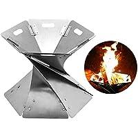 WX brasero brasero con bolsa de almacenamiento, estufa de acero plegable, chimenea ligera portátil para camping, senderismo, patio, jardín