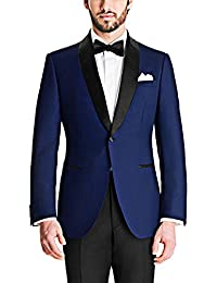 Menjestic Men's English Blue Tuxedo Blazer With Velvet Shawl Lapel