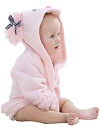 VLUNT - Albornoz con capucha para niños, algodón ecológico, supersuave y absorbente, diseño de animal, de 0 a 12 meses