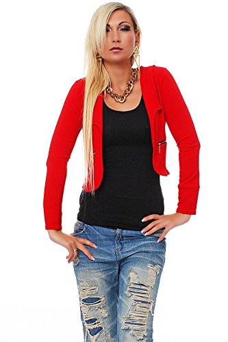 10256 Fashion4Young Damen Kurzjacke Blazer Jäckchen Jacke kurze Bolero-Design verfügbar in 7 Farben (34/36, Rot) (Design Blazer)